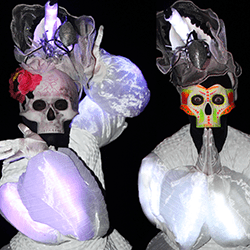 Mexican skull characters to hire for halloween themed events in London and the UK.