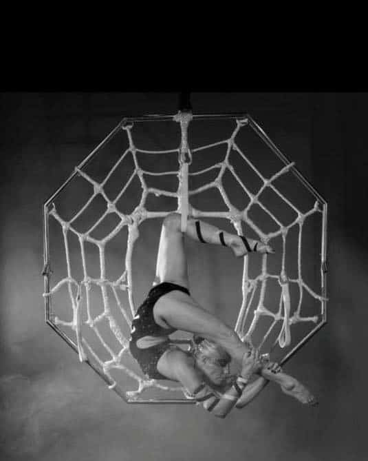 Aerial Spider Web Performer for hire. Book our aerial acrobat show for gala dinners, corporate events or product launches in London & the UK.