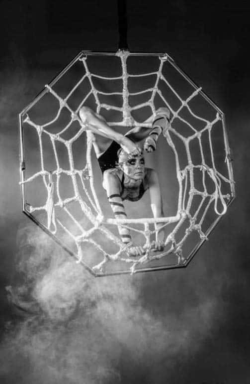 Aerial Spider Web Act for hire. Our acrobatic show is available to book for corporate events in the UK & London.