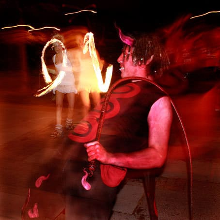 Red Devil fire performer for hire in London and the UK. Perfect for Halloween parties and events.