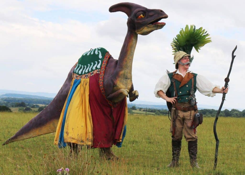 Dino Wonder & Explorer for hire. Our dinosaur walkabout act is available to book for family fun days, summer festivals or corporate events in London & the UK.