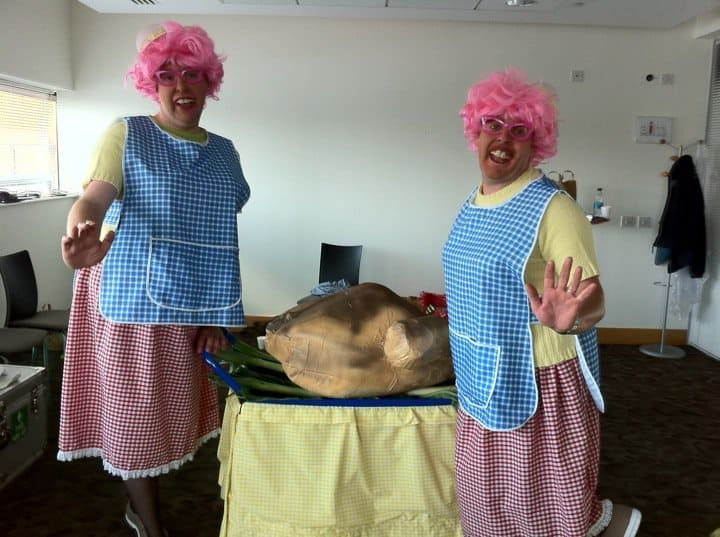 Dotty Dinner Ladies for hire. Book our comedy duo for shopping centre events in London & the UK