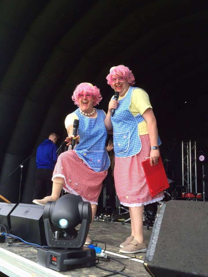 Comedy street theatre act for hire. Book The Dotty Dinner Ladies for public events in the UK & London.