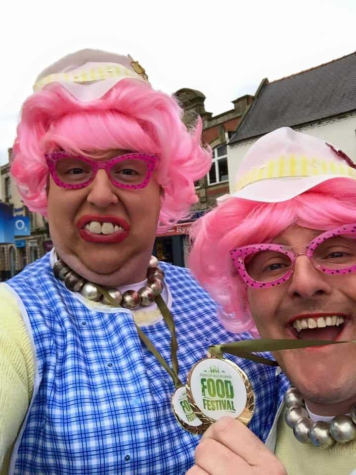 The Dotty Dinner Ladies for hire. Book our Dotty Dinner Ladies comedy act for food festivals in London & the UK.