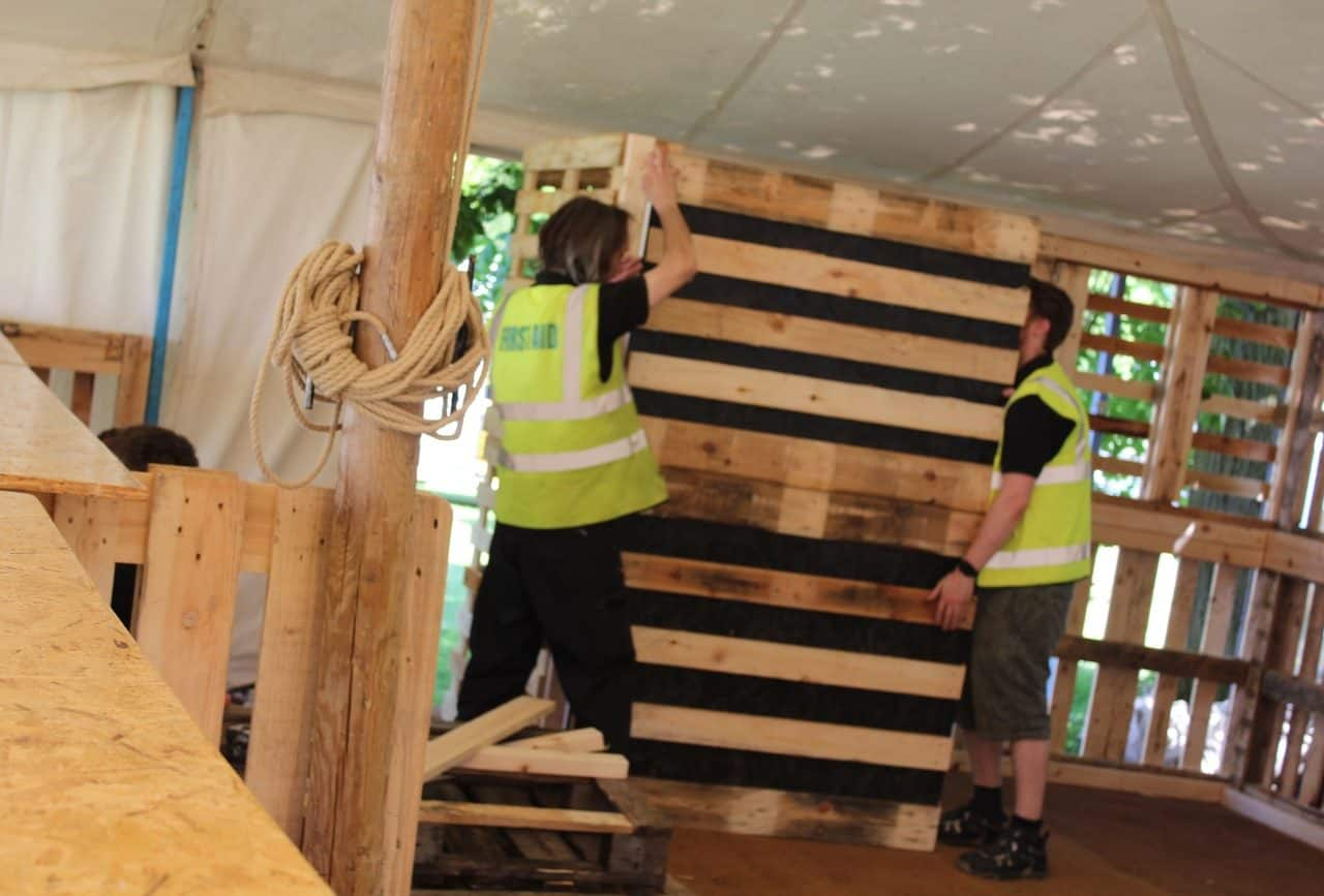 Our team putting together the pallet bar at Pub In The Park, Knutsford.