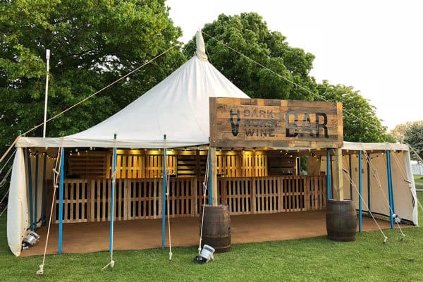 The finished bespoke pop up bar we put together for Gallo Wine at Pub In The Park, Marlow.