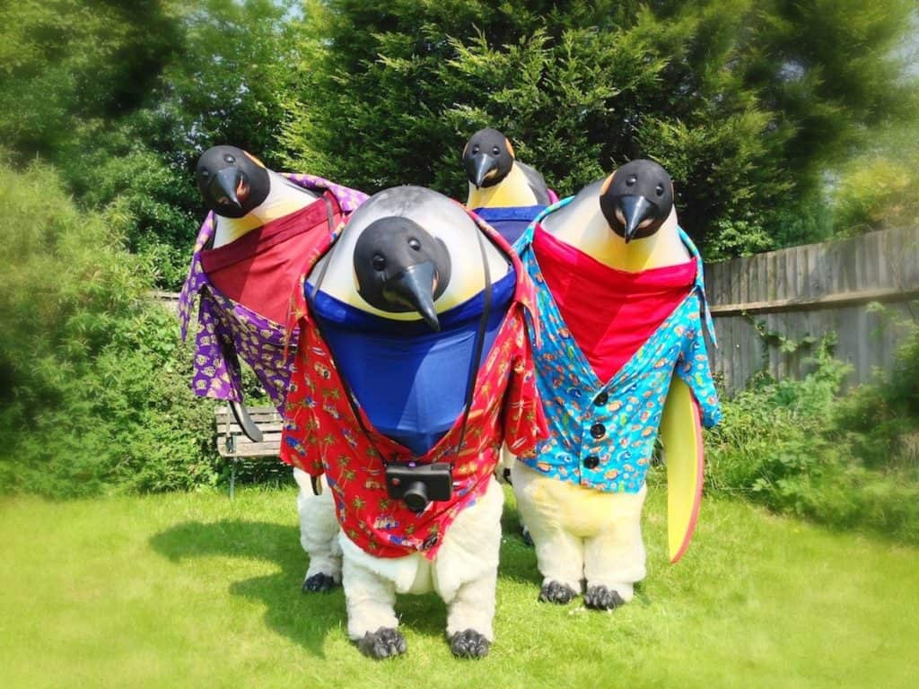 The Holiday Penguins for hire. Our walkabout penguins are available to book for family fun days, summer festivals or shopping centre events in London & the UK.