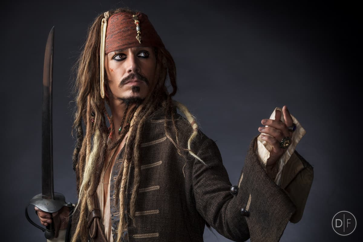Jack Sparrow lookalike for hire. Book our celebrity lookalike for pirate-themed events in London & the UK.