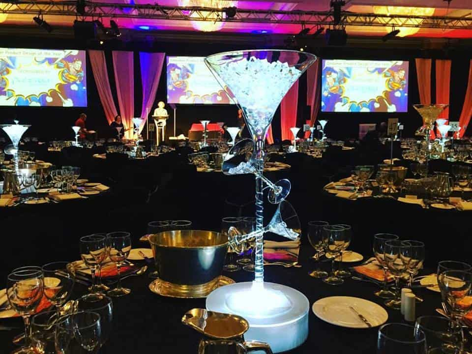 Our Martini centre pieces are available for hire in London and around the UK.