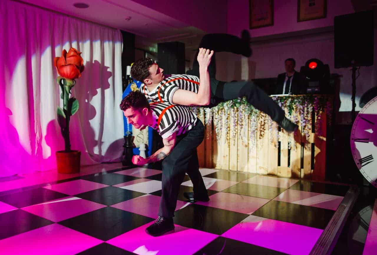 Twisted alice in wonderland themed dancers available from themed event production company