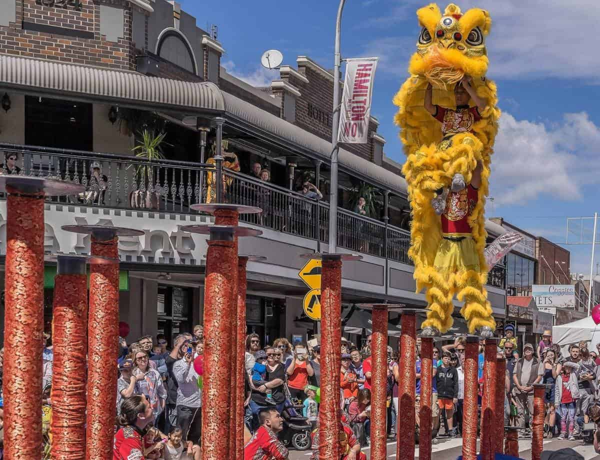 Jumping Chinese Lion Dancers for hire. Book our traditional Northern Lion Dancers for Chinese New Year events in the UK & Australia.