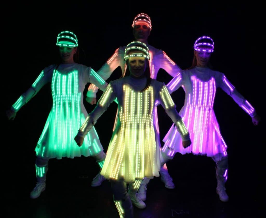 UK-based wearable technology dancers for hire for logo reveals.