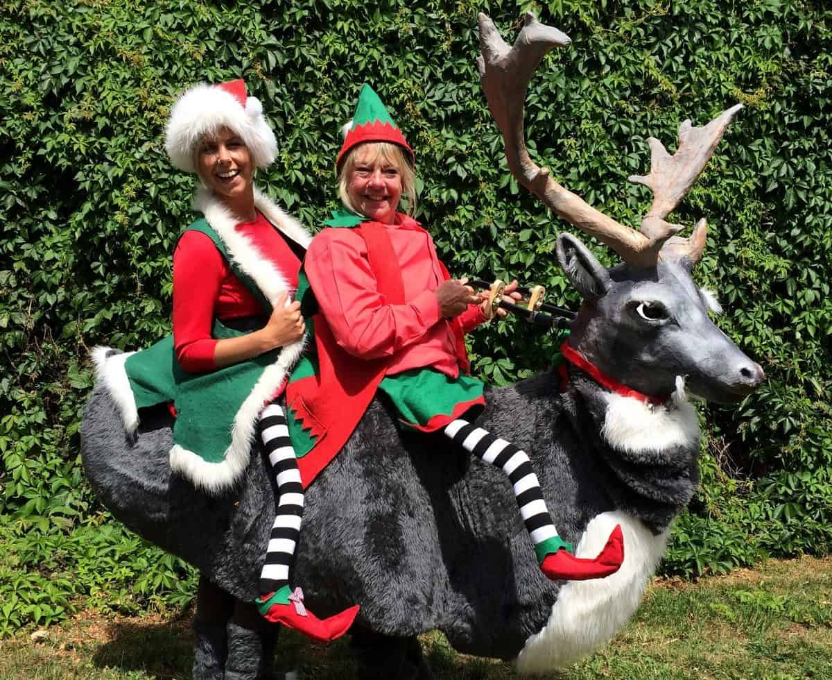 Lost Elves & Reindeer walkabout act for hire. Our Christmas-themed entertainment is available to book for shopping centre events in London & the UK.
