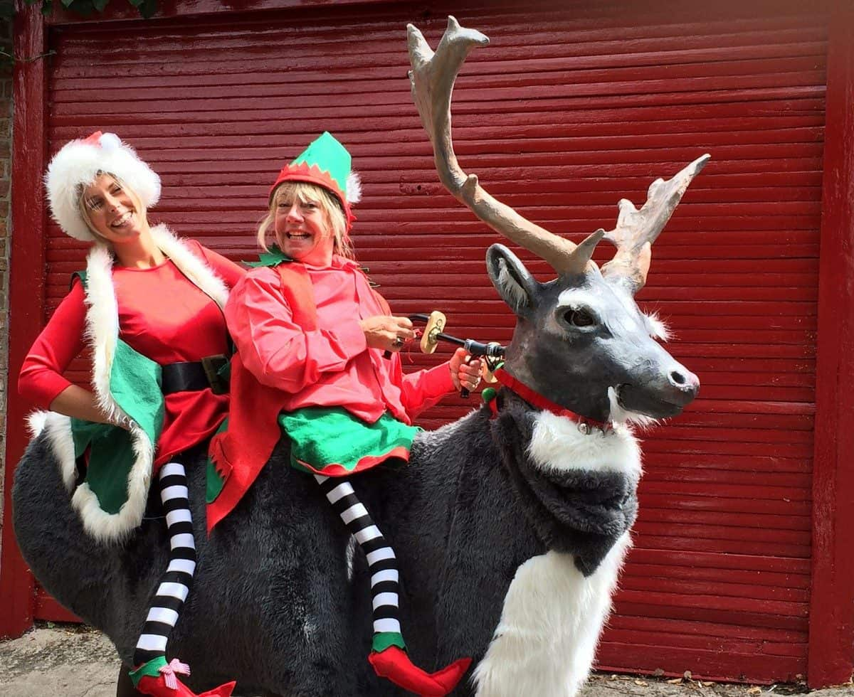 Christmas elves & reindeer walkabout act for hire. Our Winter Wonderland-themed entertainment is available to book for children's parties in London & the UK.