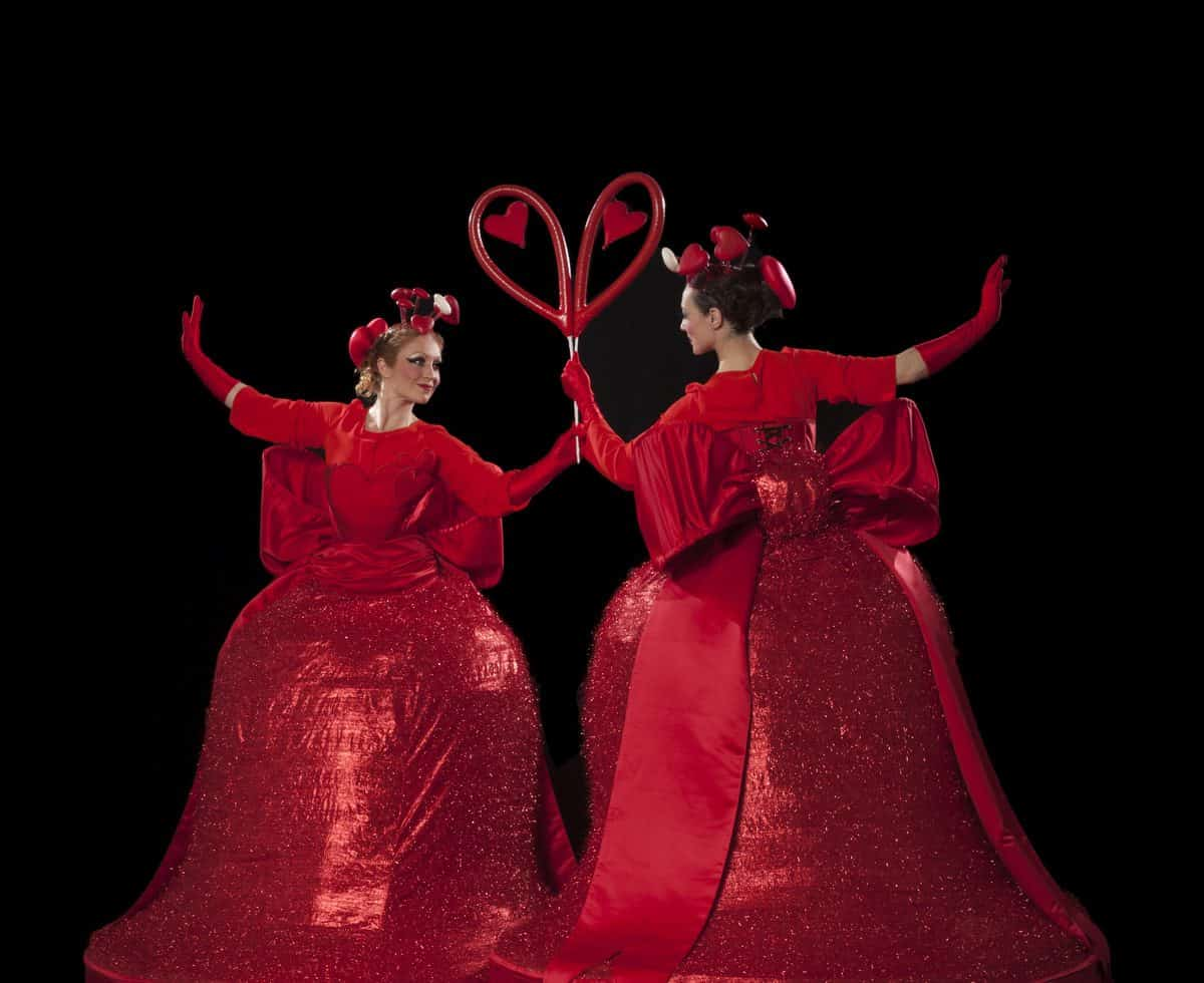 Love Heart Belles for hire. Our Love Heart Belle stilt walkers are available to book for Valentine's Day events, Christmas-themed events or corporate events in London & the UK.