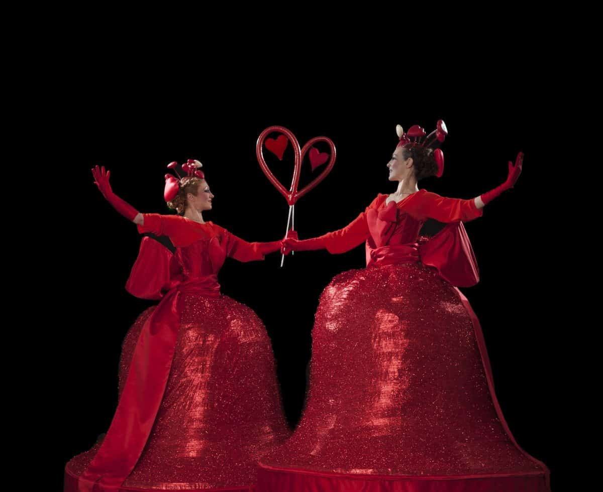 Love Heart Belle stilt walkers for hire. Book our Valentine-themed stilt walkers for Christmas-themed events in London & the UK.