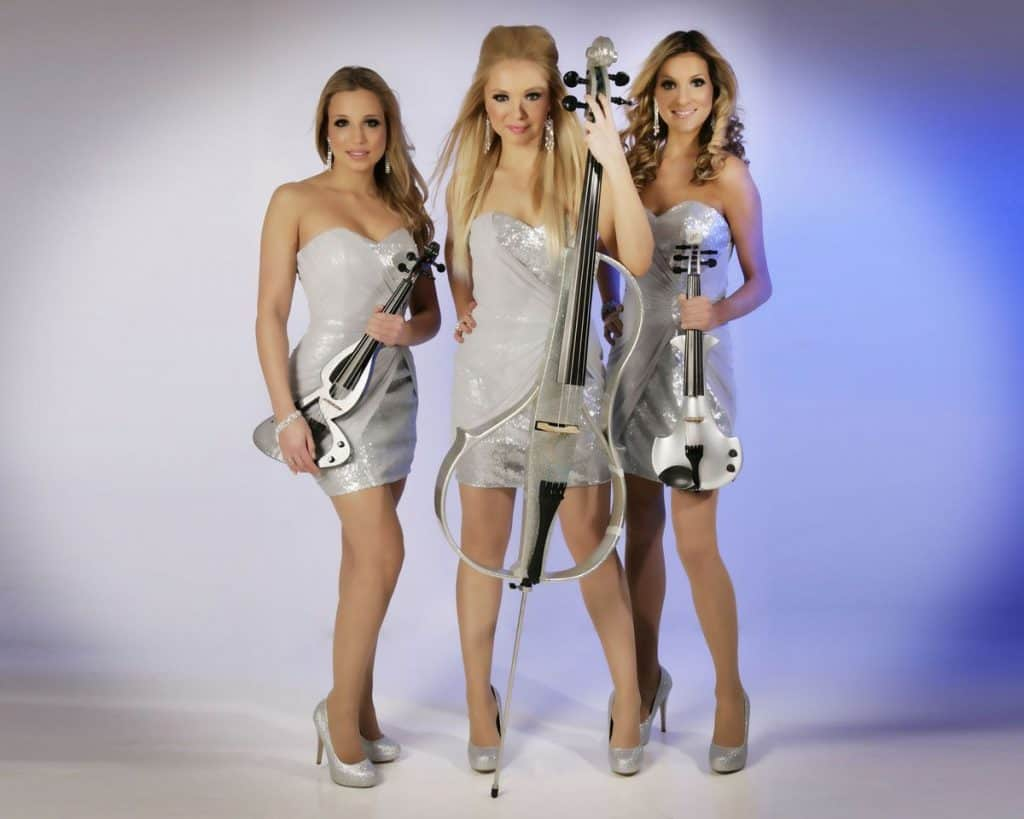 The Lustrous Strings for hire. Our electric strings trio is available to book for gala dinners, award ceremonies or Winter Wonderland events in London & the UK.