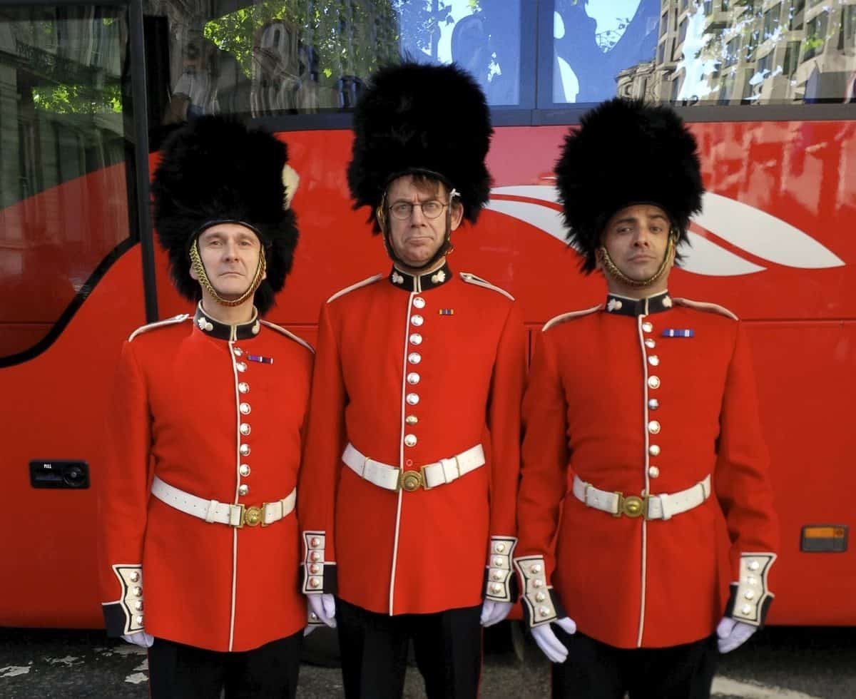 Royal Guard mime artist for hire. Our British themed mime artist can be hired in London & the UK