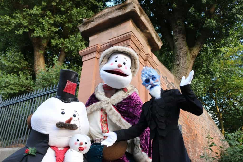 The Snowden Family for hire. Book Victorian animatronic puppets for corporate events in the UK and London.