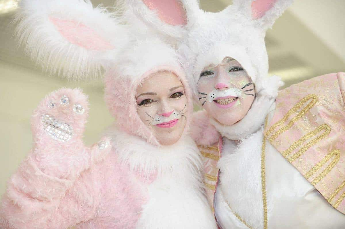 Noble Bunny Stilt Walkers for hire. Our Easter Bunny Stilt Walkers are available to book for Easter events, shopping centre events or family fun days in London & the UK.