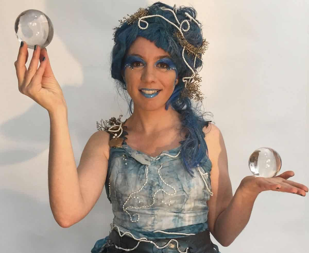 The Ocean Goddess for hire. Book our ocean-themed contact juggler for corporate events in London & the UK.