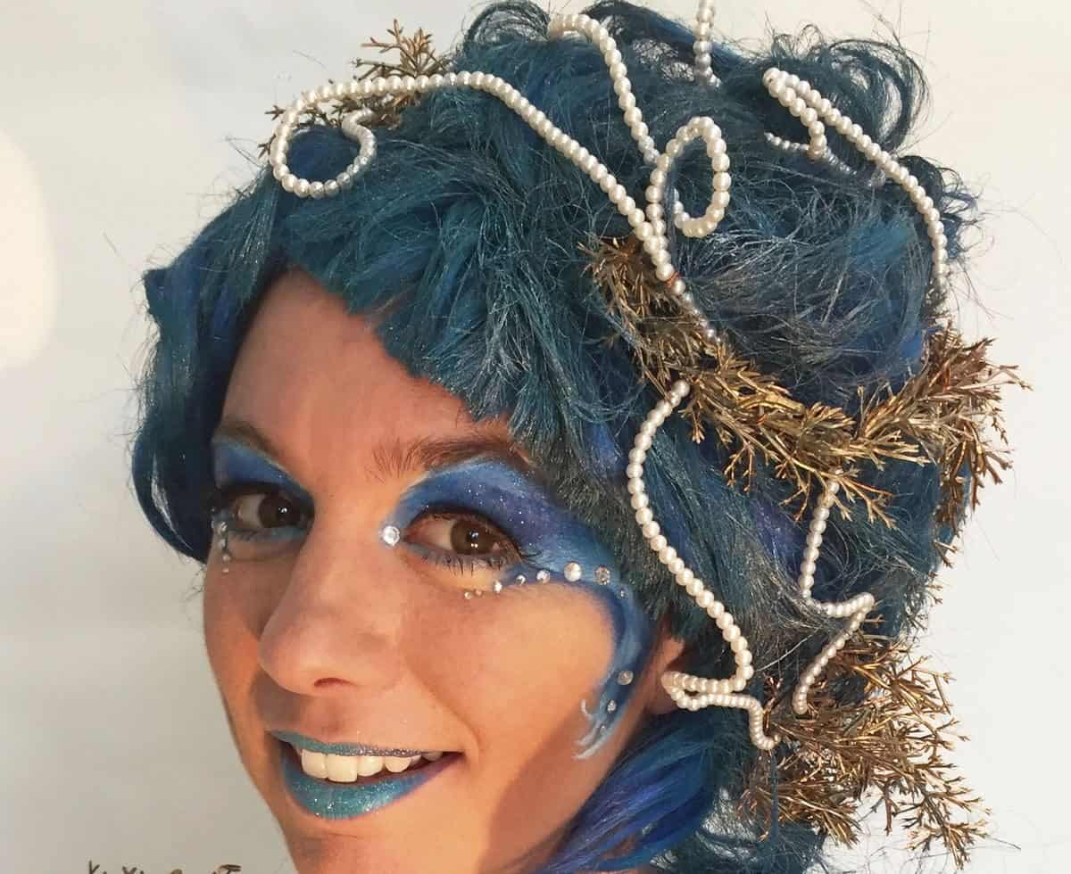 The Ocean Goddess for hire. Book our ocean-themed walkabout performer for shopping centre events in London & the UK.