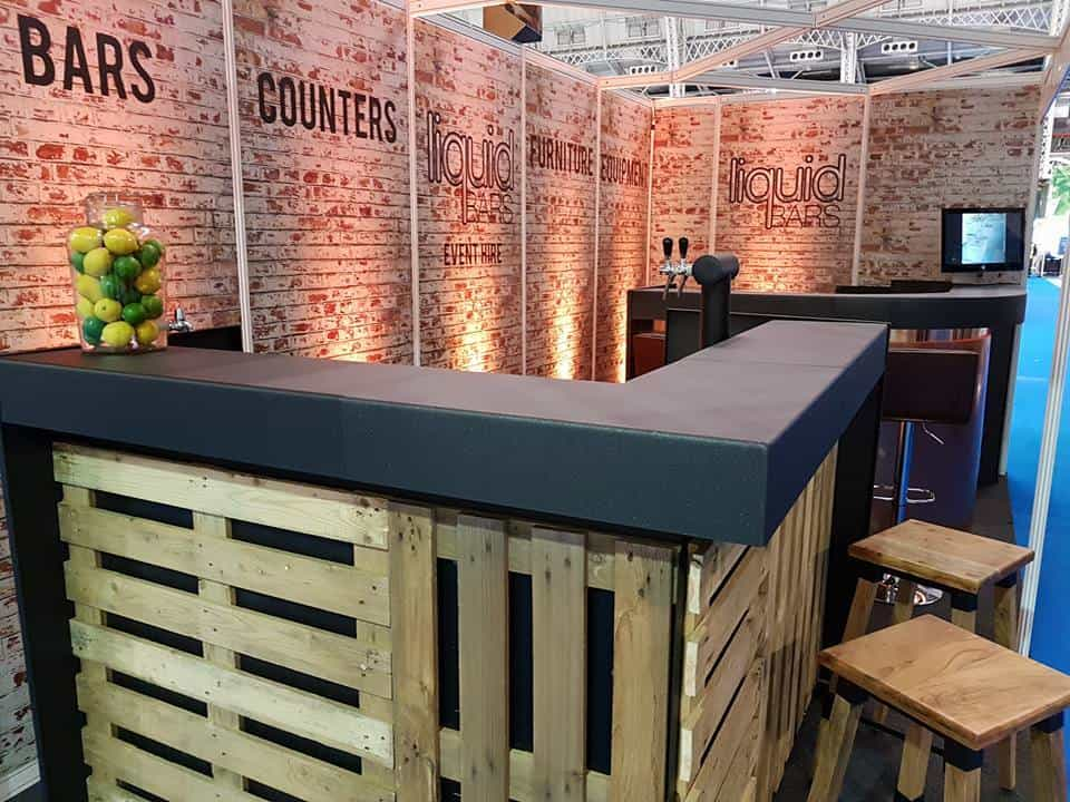 Exhibition furniture. Book wooden bars for events.