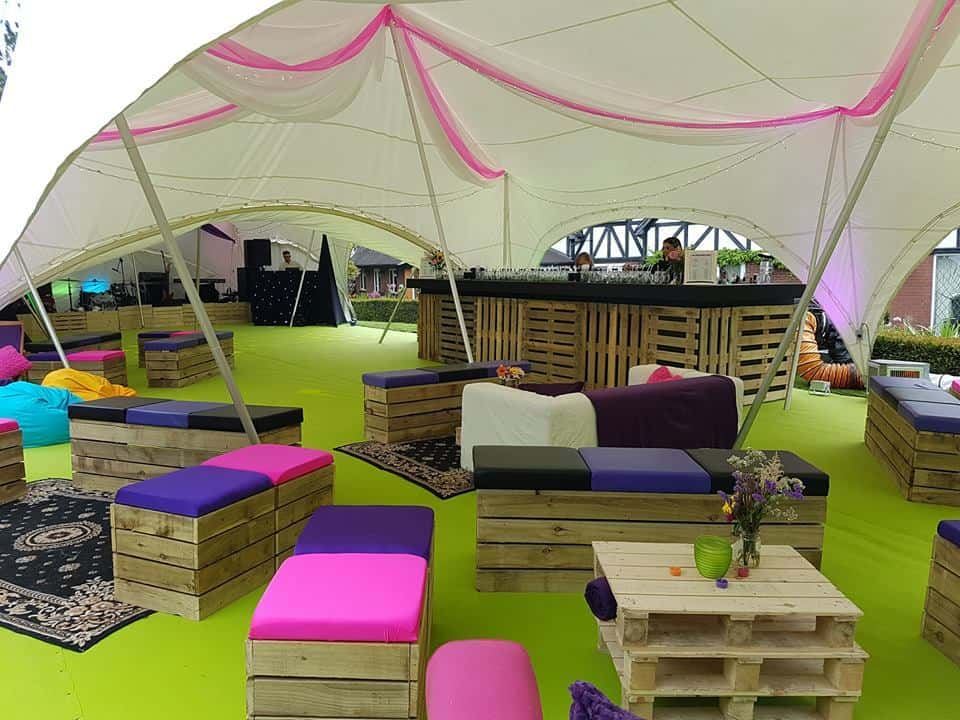 Festival furniture rental in London for wedding events.