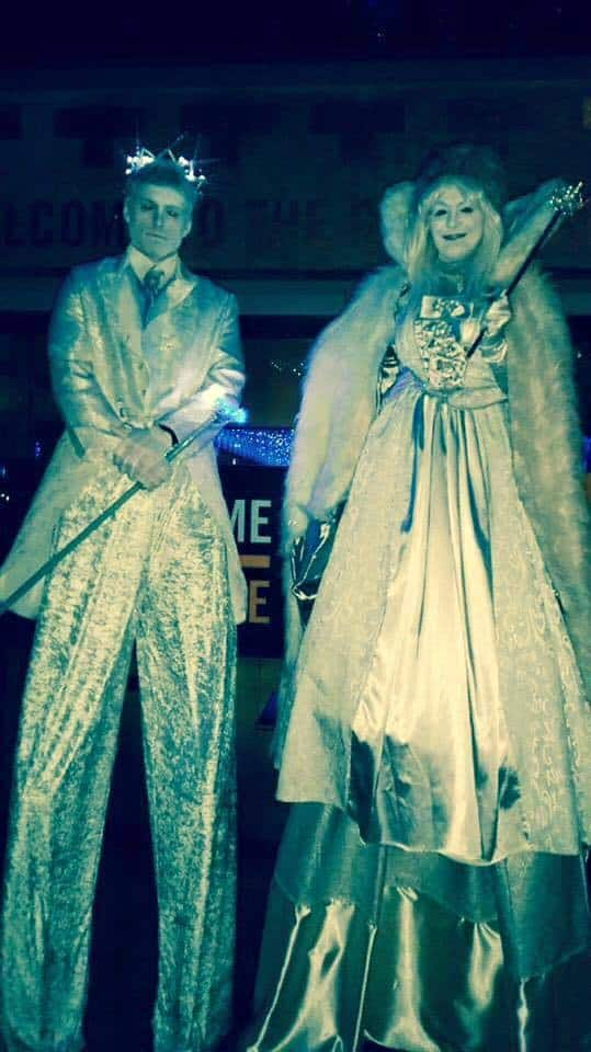 Royal Glacier Stilt Walkers for hire. Book our Ice King & Queen stilt walkers for Christmas-themed events in London & the UK.