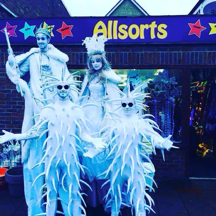 Winter walkabout characters for hire. Book our themed stilt walkers for Christmas parades in London & the UK.