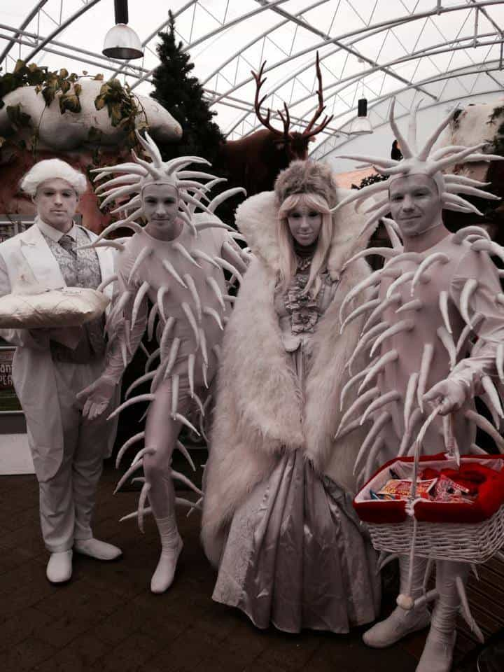 Royal Glacier Stilt Walkers for hire. Our Winter stilt walkers are available to book for Winter Wonderland events in the UK & London.