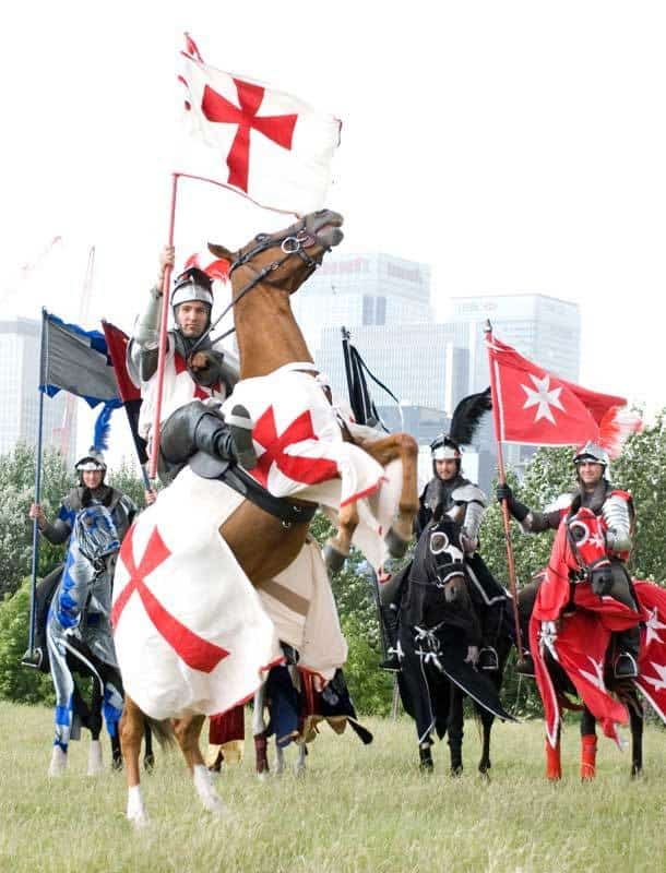 Knight on horseback for hire in London and the UK.