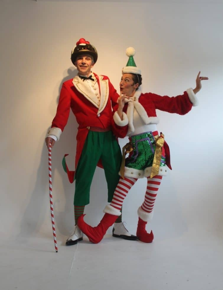 The 2 Sleigh Belles for hire. Book our Christmas-themed elf show for shopping centre events, Christmas-themed events or children's parties in London & the UK.