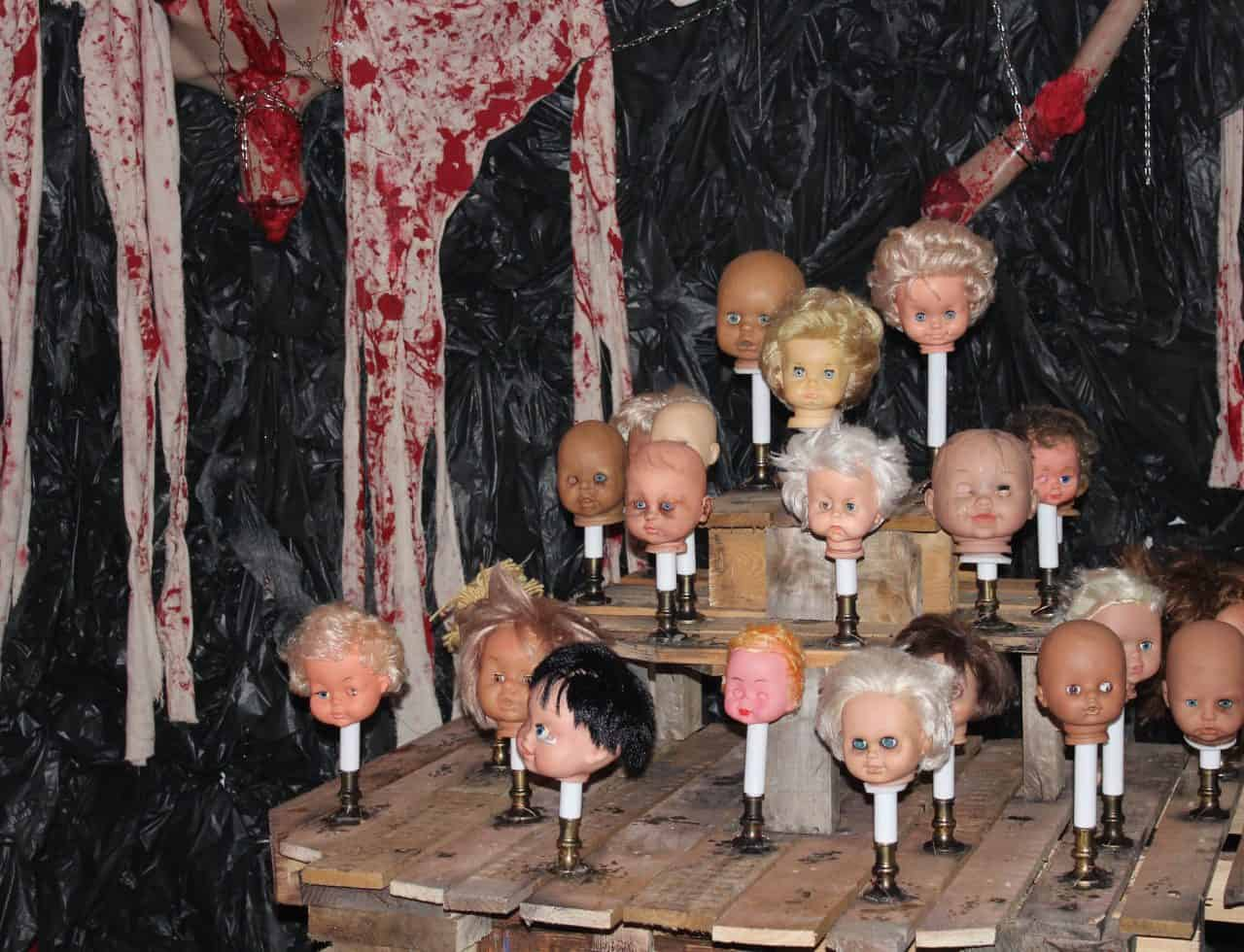 Bespoke Halloween Doll Props we created to complete the American Horror story Halloween venue dressing service for our client's birthday party.