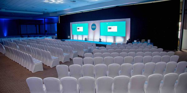 Seating Set Up with white chair covers we used to create the Conference Space in the DoubleTree Hilton Venue, Milton Keynes.