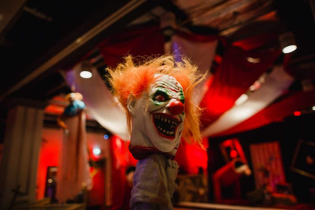 Bespoke Clown's Head Prop we used to transform The Curtain Hotel into a Twisted Circus Halloween Themed Event space.