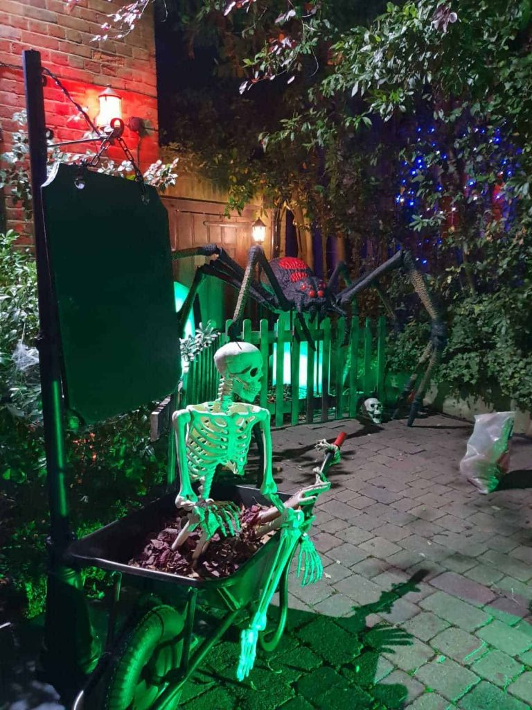 Bespoke Halloween Set Design we created on our client's driveway on Hampstead Way, London, next to Jonathan Ross' house.