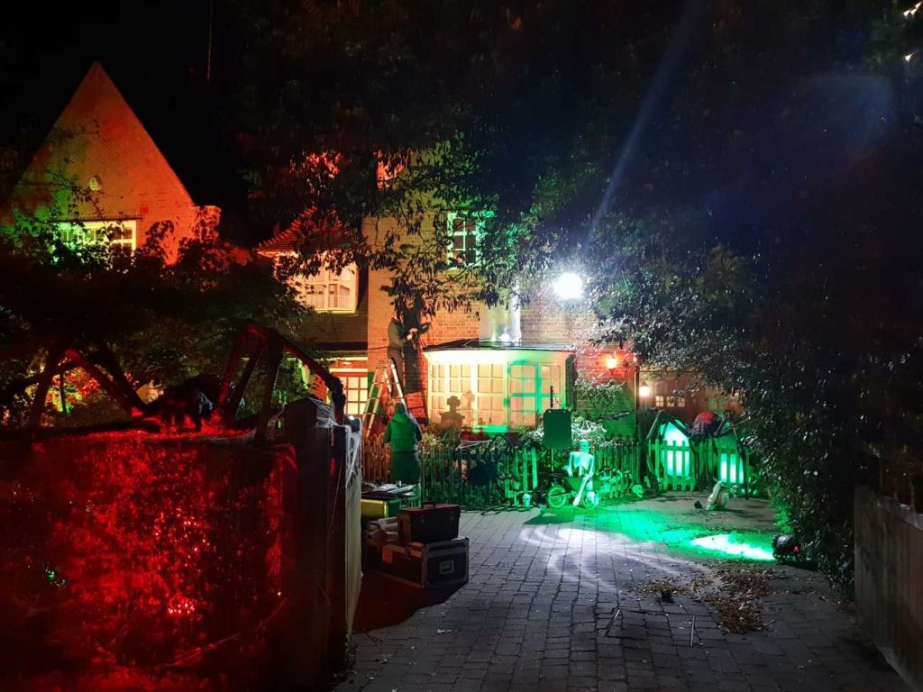 Finished product of our neighbour's driveway and house after our Halloween House Dressing Service. Our client lives next to Jonathan Ross on Hampstead Way, London, so our Halloween Decorations had to compliment Jonathan Ross' halloween decorations perfectly.