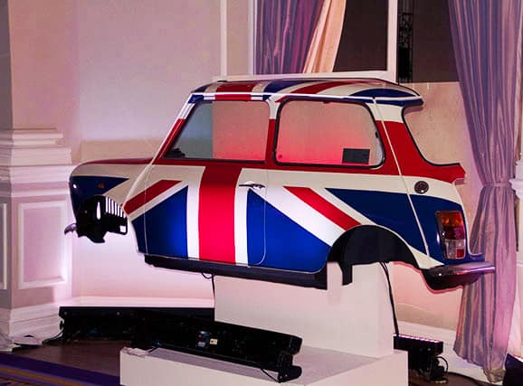 Royal and British themed venue dressing and props for hire. Hire mini cooper props, union jack flags and more.