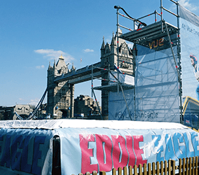 Eddie the eagle PR stunt London