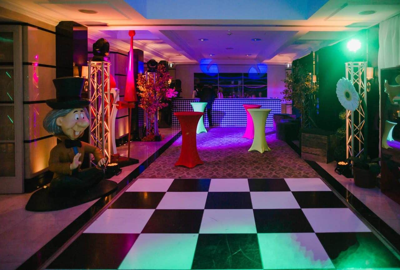 Venue dressing available to book for twisted alice in wonderland parties