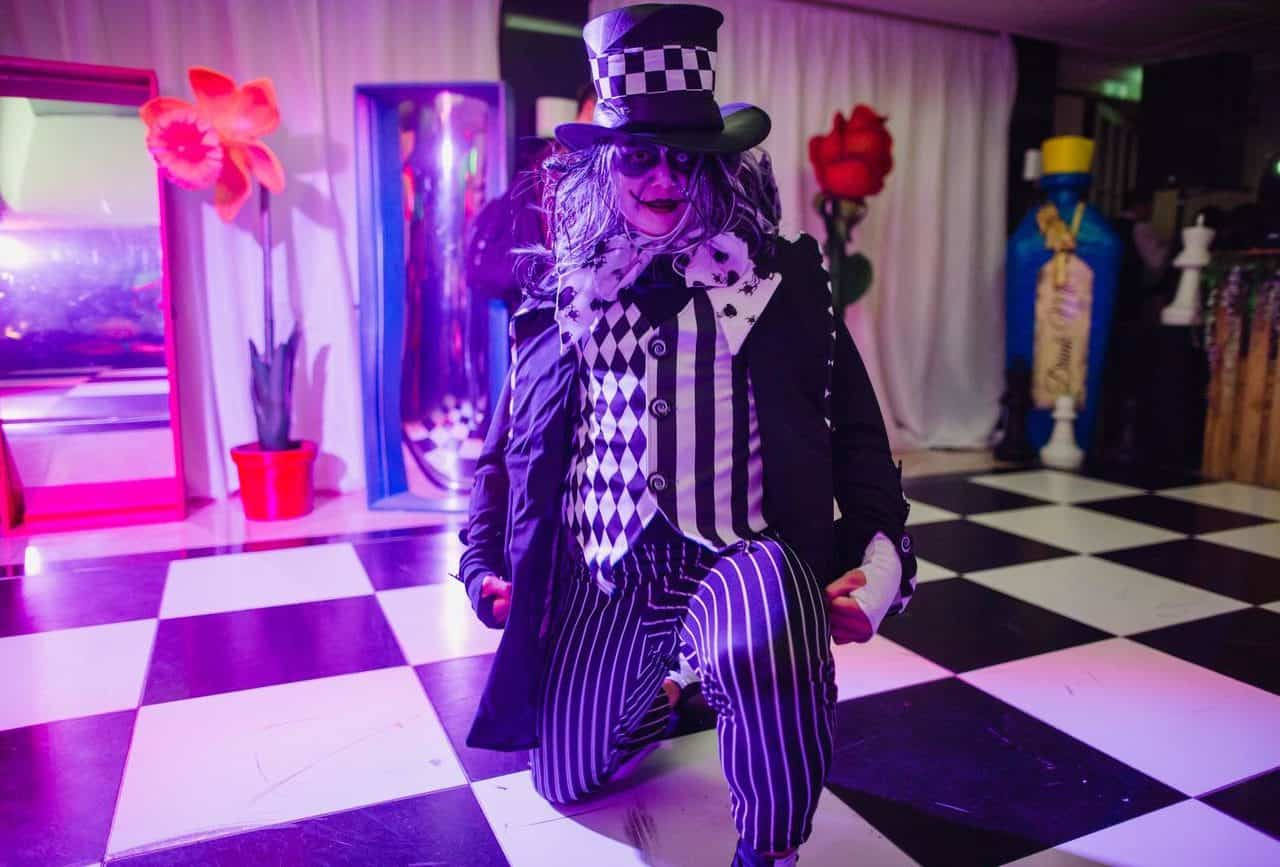 Mad hatter characters available to book for twisted alice themed parties