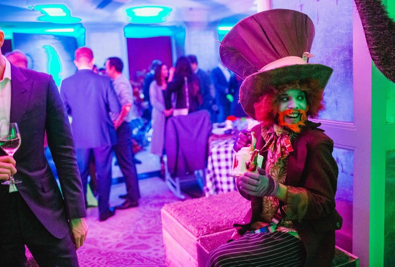 Mad hatter character available to book twisted alice in wonderland themed events