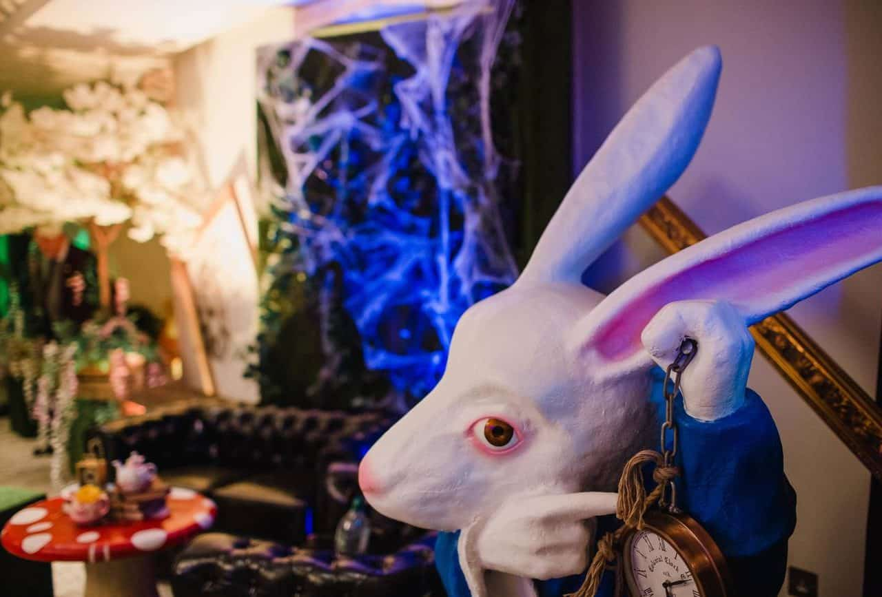 Alice in wonderland White rabbit prop available for twisted Alice in wonderland themed events