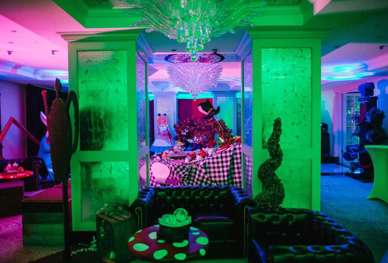 Twisted alice set design available from event management company