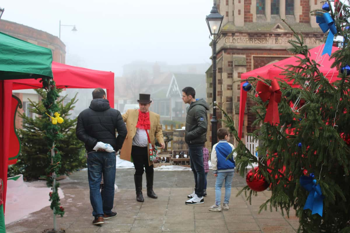 Guests wonder around our Christmas Themed event