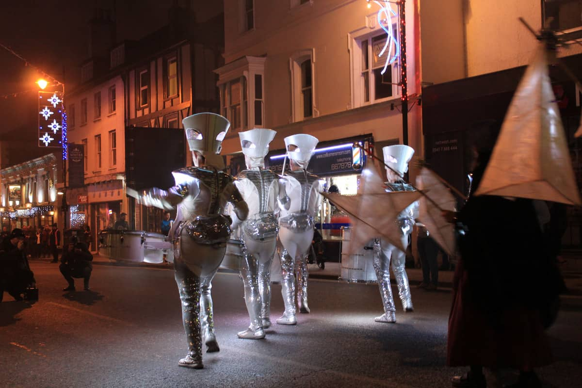 Our LED drummers marching down the street entertaining all