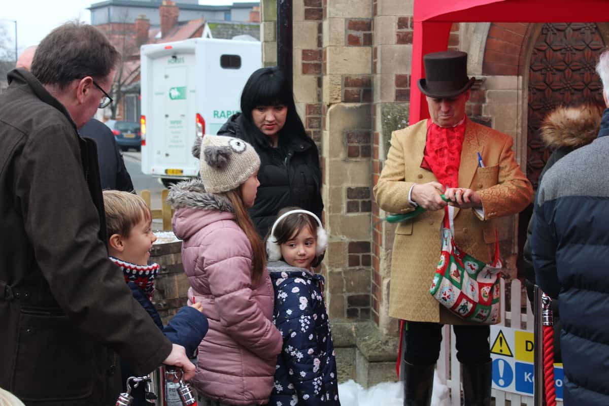 Children lining up to see our Santa Claus entertainment
