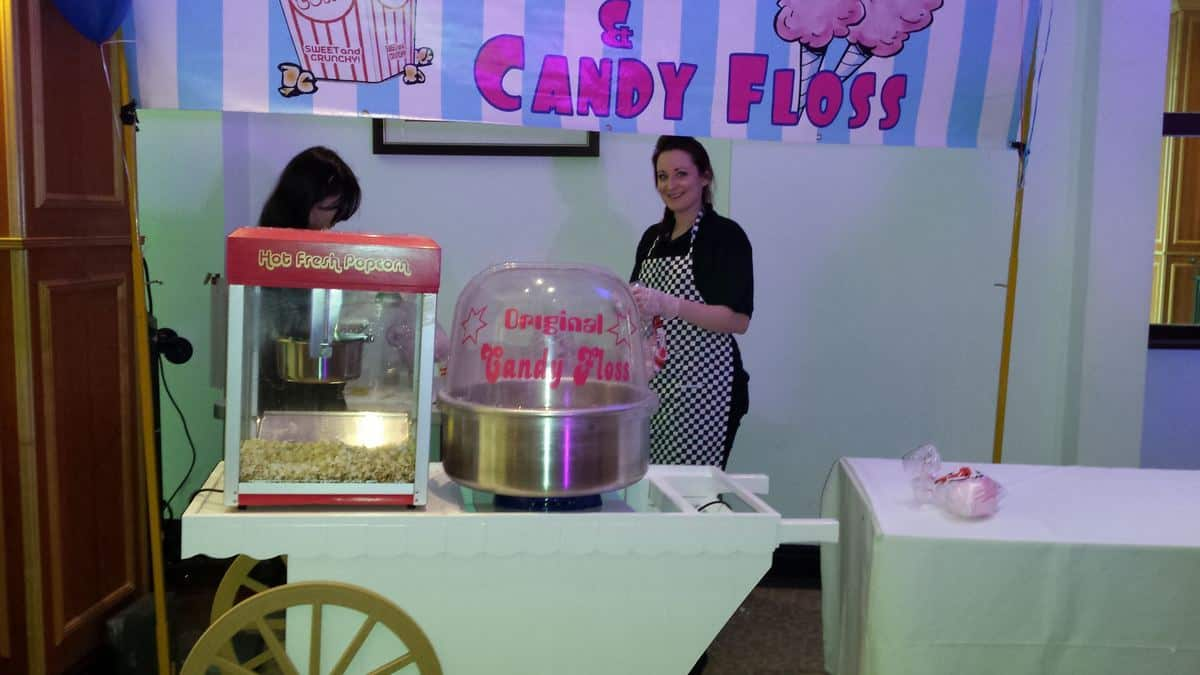 Our Popcorn & Candy Floss Cart is available to book for private events in London & the UK.