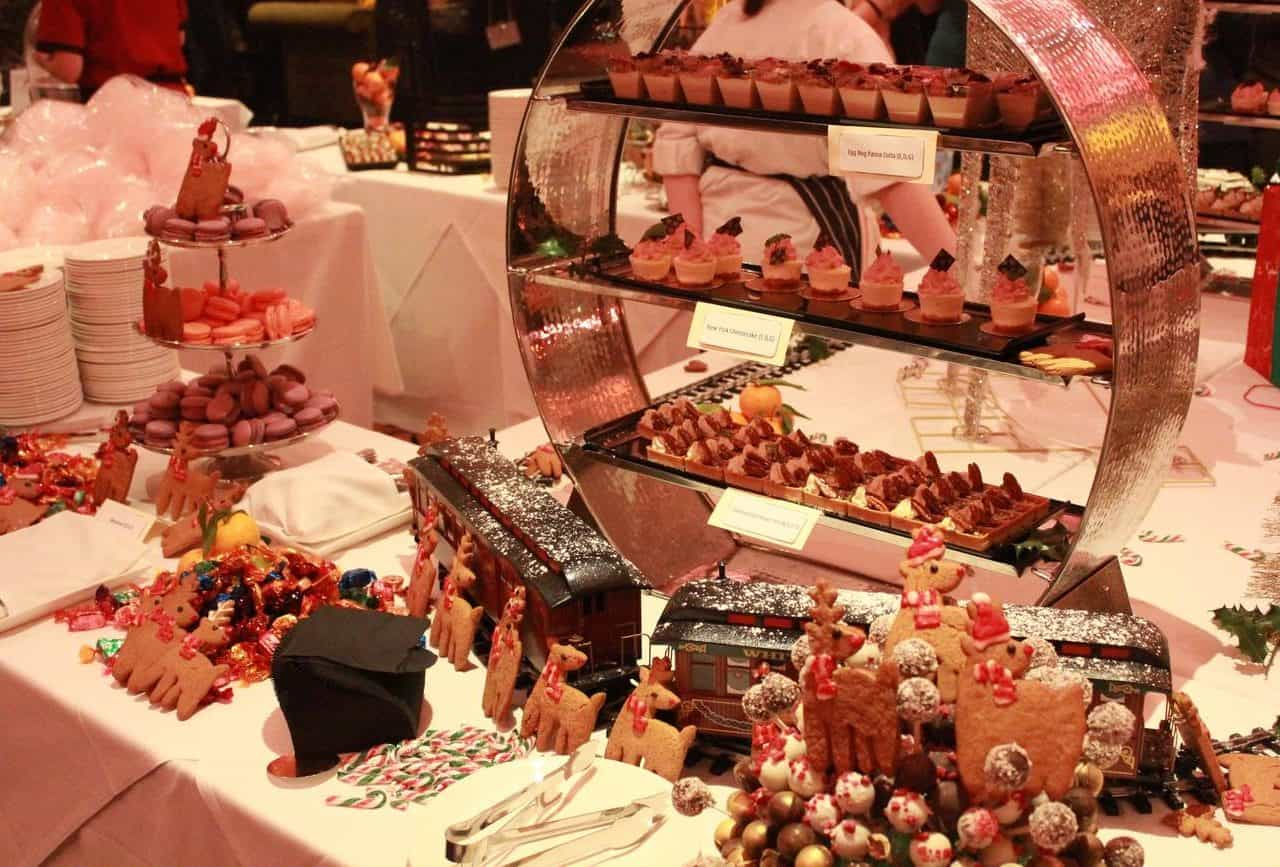 Christmas inspired catering for roaring 20s party at whittlebury hall